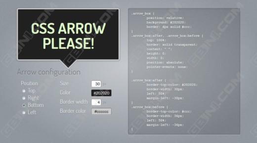 分享一个纯CSS在线气泡提示生成工具 - CSS ARROW PLEASE!