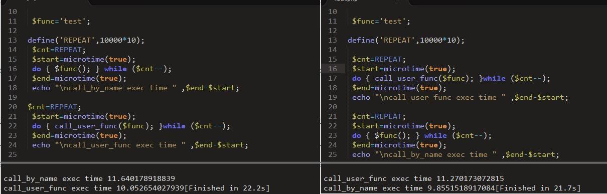 php 代码测试,代码越在前面越耗时
