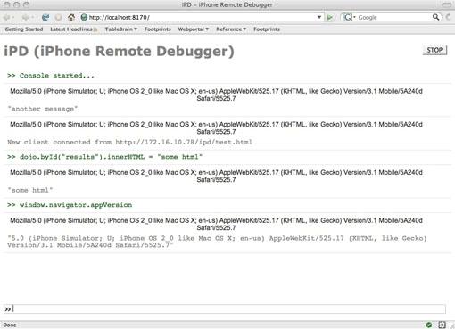 iPhone Remote Debug Console