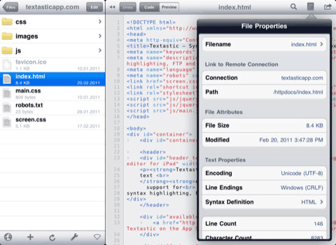Textastic – Syntax Highlighting, FTP, SFTP