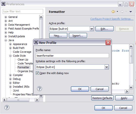 图 3. 创建新的代码格式配置