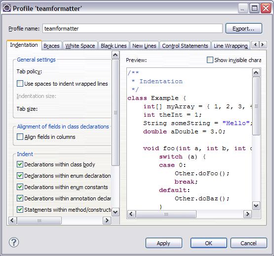 图 4. 创建新的代码格式配置
