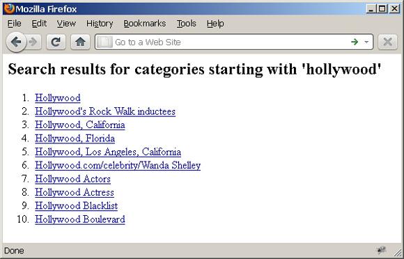 列出以 'hollywood' 开头的 Wikipedia 类目的 Web 页截屏