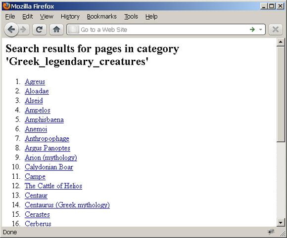 Web 页面抓屏中列出了所选类目中的 Wikipedia 页,Greek_legendary_creatures
