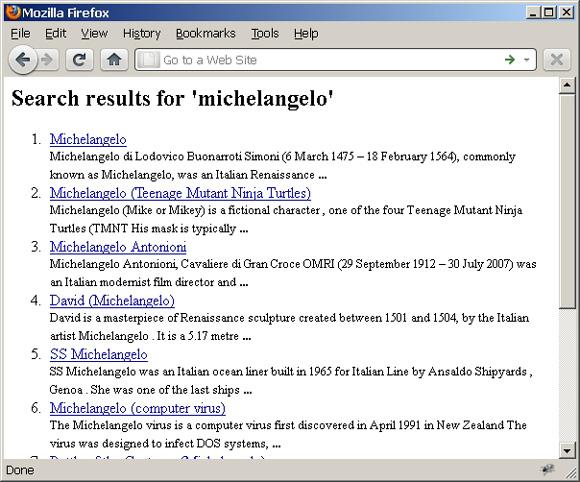 Web 页面截屏展示了 Wikipedia 对于 'michelangelo' 的搜索结果