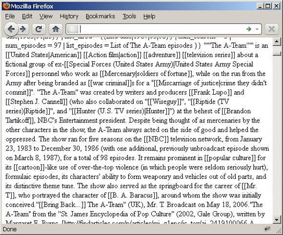 Web 页面截屏以连续的、非格式化文本字符串(主题:The A-Team)