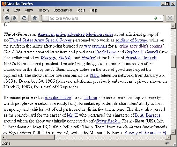 Web 页面截屏展示了转换为 XHTML 后的格式化 wiki 内容(主题:The A-Team)