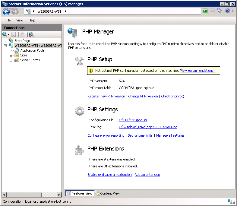 PHP Manager for IIS