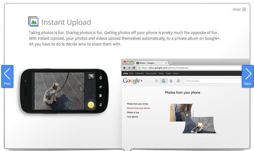 Google Plus Instant Upload