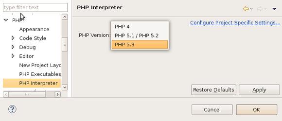 把解释器设置为 PHP V5.3
