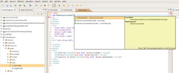 屏幕图显示用于在代码清单中进行代码补全的名称空间选项列表
