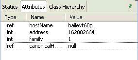 截图显示的是 Inet4Address 对象的 Inspector 视图