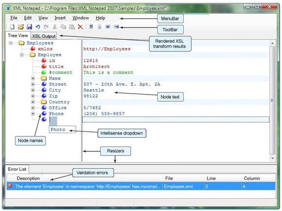 XML Notepad 的预览的屏幕截图