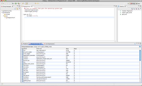 带 Erlide 插件的 Eclipse 的屏幕截图