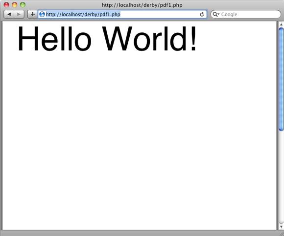 PDF 格式的 Hello World 的屏幕截图
