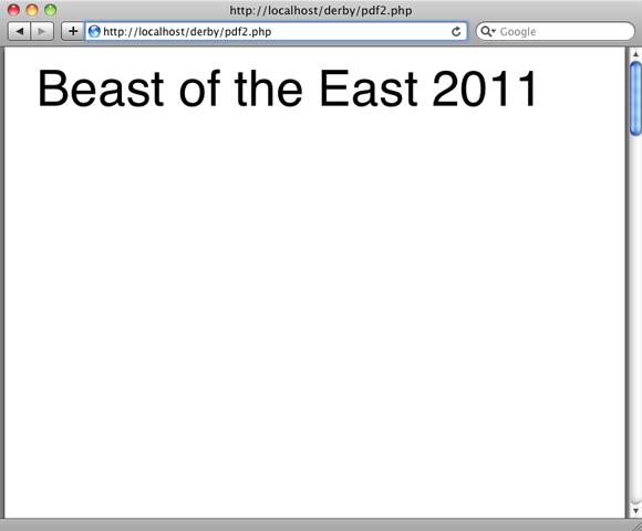 屏幕截图显示了动态 PDF 的第一个版本 'Beast of the East 2011' 的标题