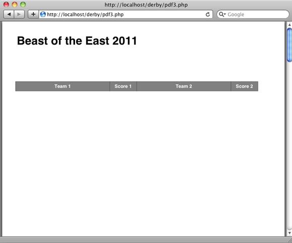屏幕截图显示了包含表的标题行的页面