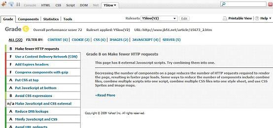 YSlow Grade 面板是 Firefox 插件的一部分