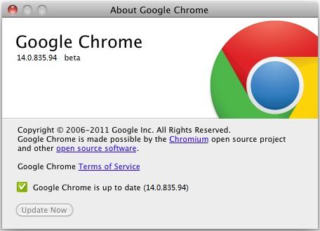 Chrome Beta 分支更新到 14.0.835.94