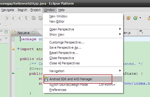 图 3:Android SDK and AVD Manager 菜单