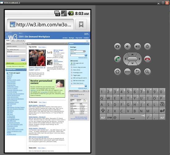 图 9:显示 IBM 主页画面
