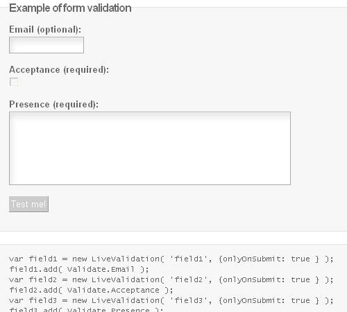 LiveValidation jquery form plugin