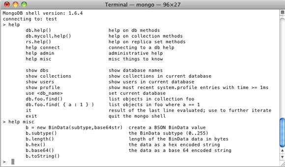 Mongo shell help 命令的输出