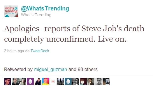 CBS官方Twitter账号称乔布斯去世 旋即辟谣