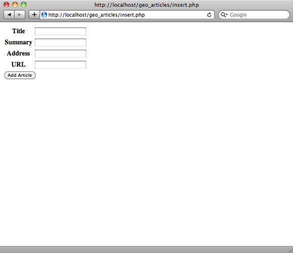 带有标题、摘要、地址和 URL 字段,以及 'Add Article' 按钮的文章输入表单的屏幕截图