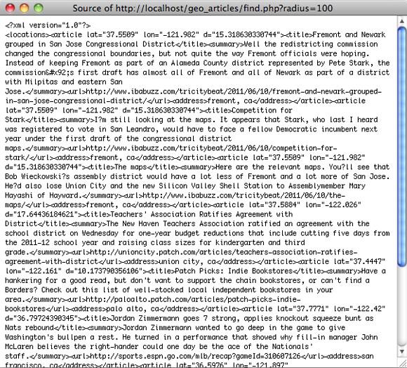 find.php 结果的 XML 源代码的屏幕截图