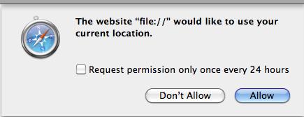 Safari 位置警告提示屏幕截图
