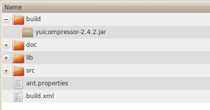 归档文件目录,显示构建用的文件夹、doc、lib 和 src。yuicompressor.jar 在 build 目录下。