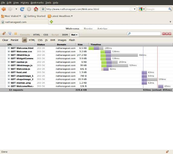 使用 Firebug 插件分析页面的截图