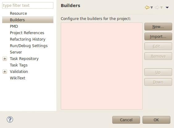 显示为项目添加构建器的屏幕截图。
