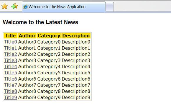 新闻应用程序的屏幕截图,包含链接的柱形列表以及它们的标题、作者、类别和描述。