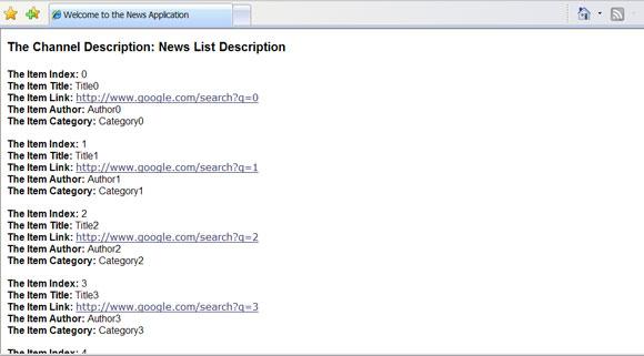 RSS feed 输出的屏幕截图,包括每个条目的项索引、标题、项链接、作者和类别