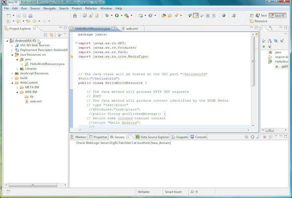 JAX-RS web 服务资源类项目的目录结构的屏幕截图