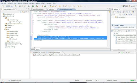 在 Eclipse IDE 中查看的 AndroidManifest.xml 文件的屏幕截图