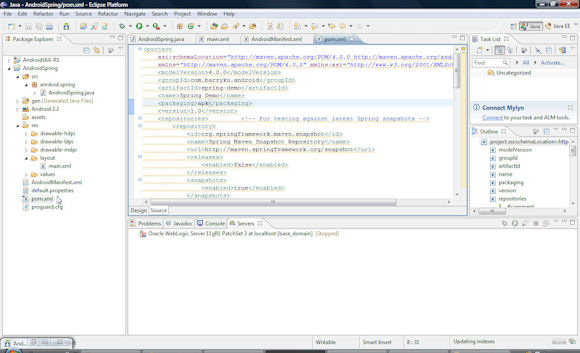 SpringAndroid 项目中 pom.xml 文件的屏幕截图