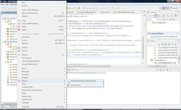 Elicpse 中 pom.xml 的屏幕截图,有菜单指向 Maven > Enable Dependency Management