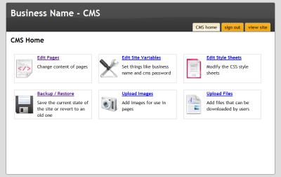 Main CMS page