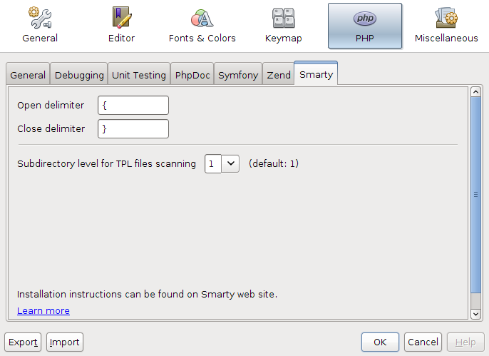 NetBeans for PHP 7.1 Beta Smarty template options dialog