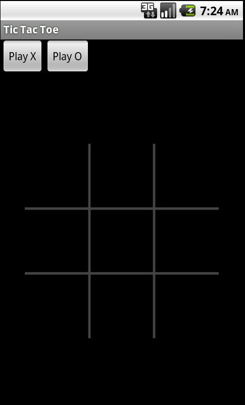 Tic Tac Toe 游戏的屏幕截图,在开始新游戏时显示 'Play X' 与 'Play O' 按钮