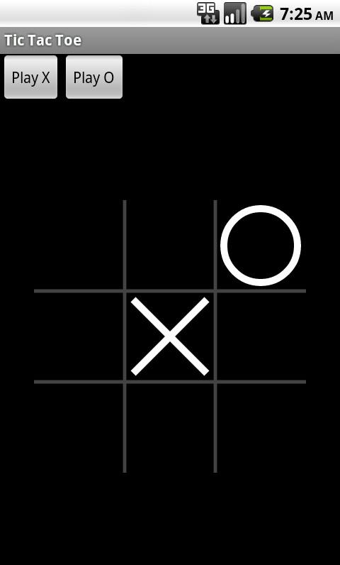 X 占据中心方格而 O 占据右上角方格时的 Tic Tac Toe 游戏屏幕截图