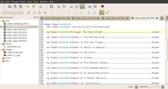 epub 文档编辑器的屏幕截图,具有 xml 编辑器的典型布局