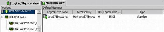 图 9. Storage Manager GUI 显示映射给主机的 LUN