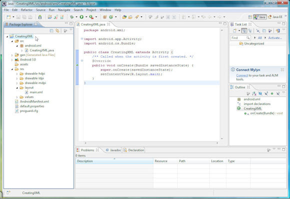 用于创建 XML 文档的 Android 项目的屏幕截图