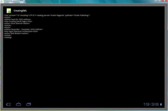 在 Android 设备上创建并显示一份 XML 文档的屏幕截图