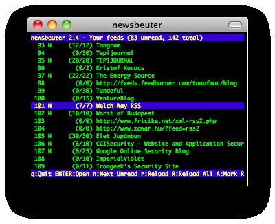 newsbeuter screenshot