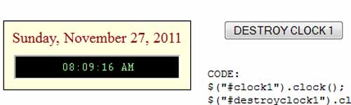 jQuery Dynamic Clock Plugin